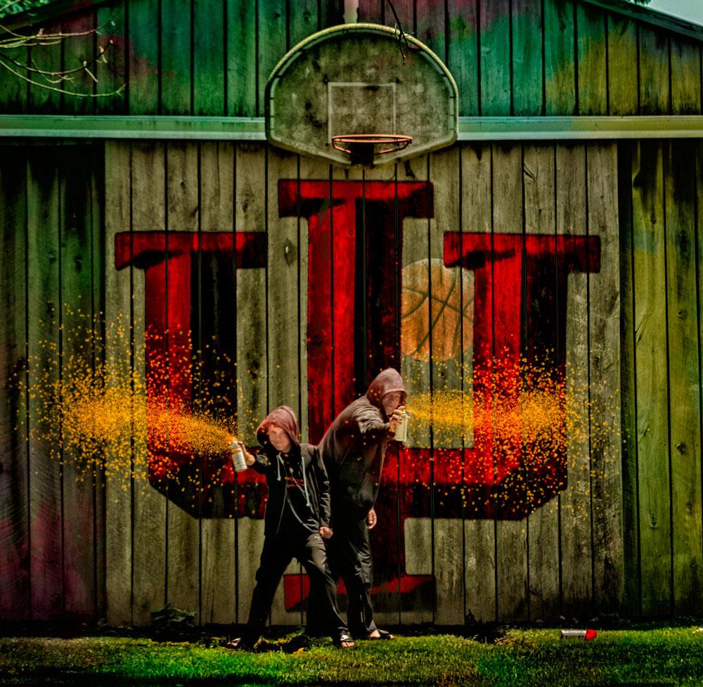 I.U. Logo as graffiti on old barn