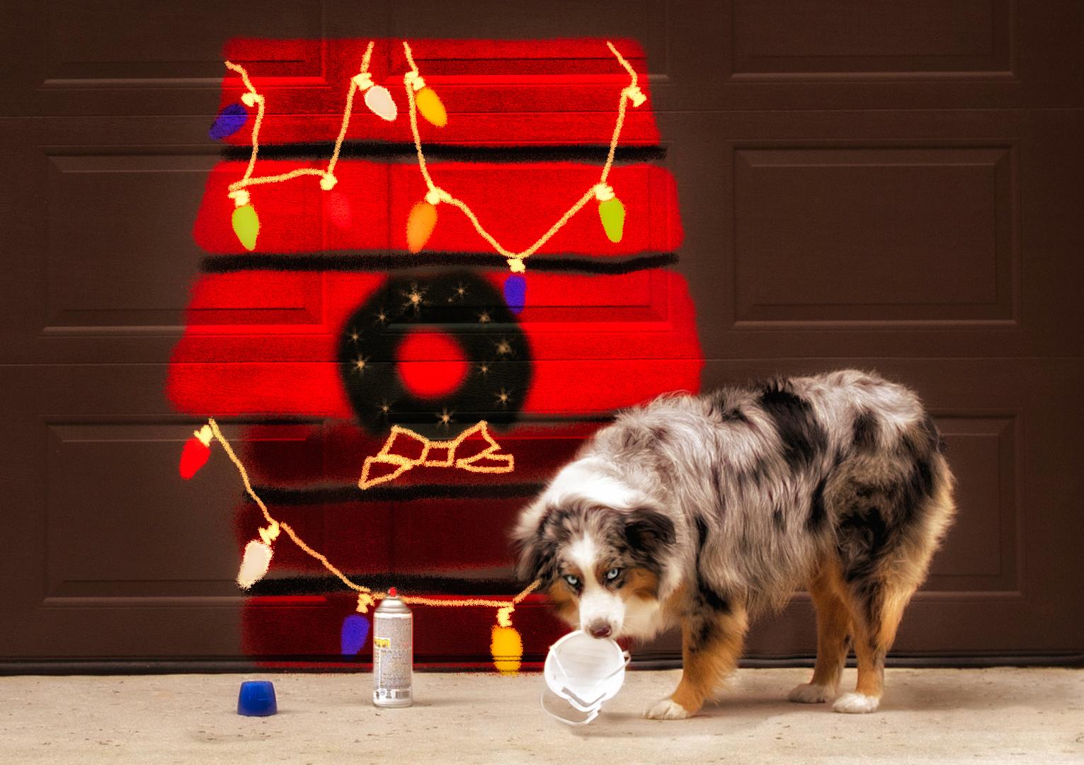 Blue sprays Snoopy on the garage door