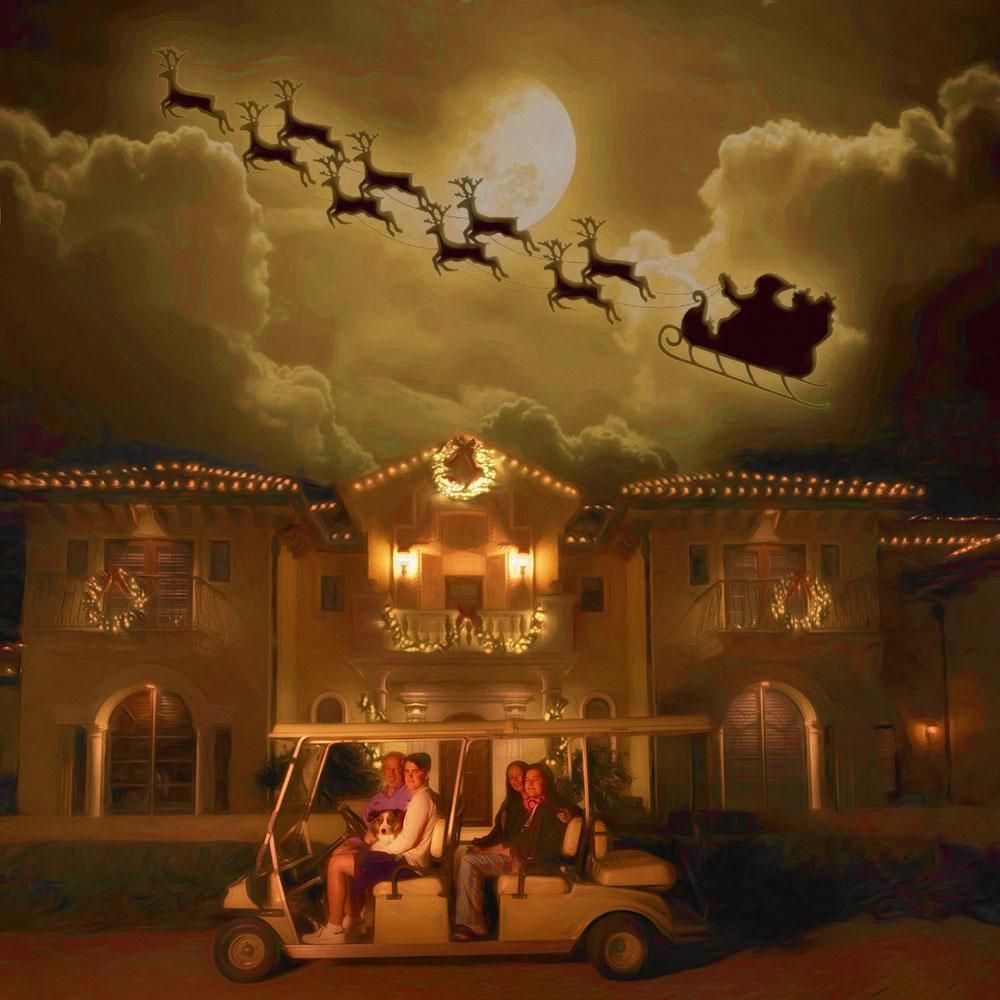 Christmas light viewing family golf cart ride
